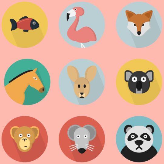 イラスト動物赤桃カラフル女子向けの Android スマホ 壁紙