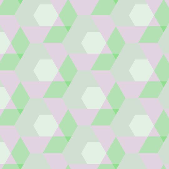 幾何学模様緑桃の Android スマホ 壁紙