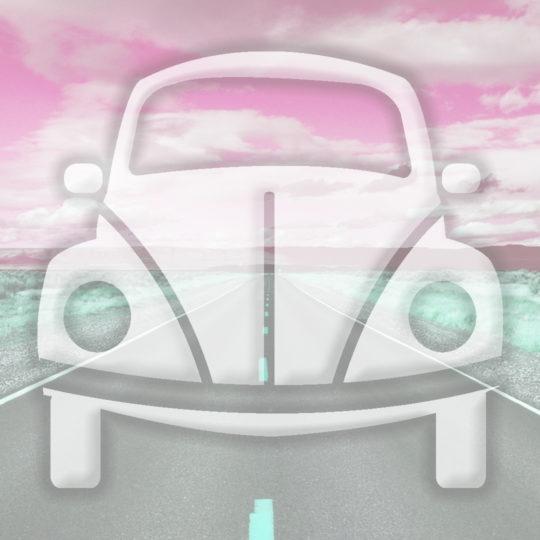 風景車道路赤の Android スマホ 壁紙