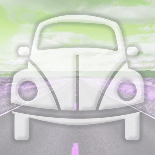 風景車道路黄緑の Android スマホ 壁紙