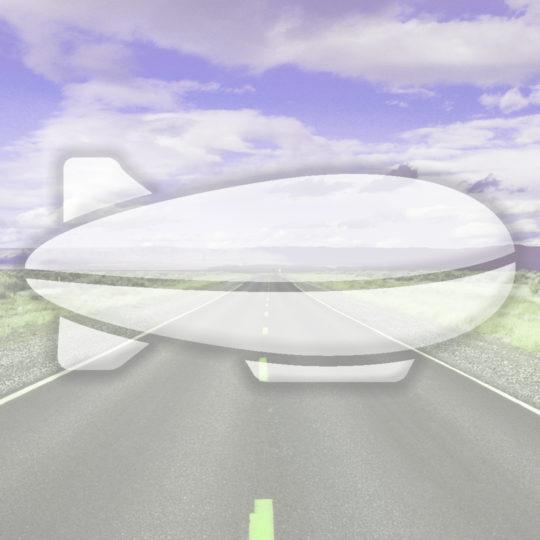 風景道路飛行船紫の Android スマホ 壁紙