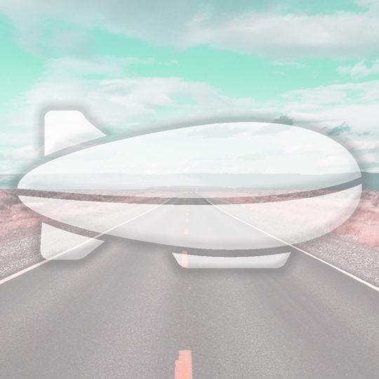風景道路飛行船水色の Android スマホ 壁紙