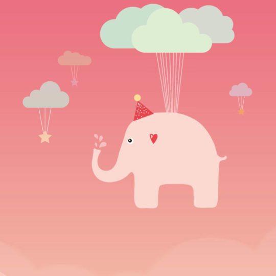 桃イラスト象可愛いの Android スマホ 壁紙