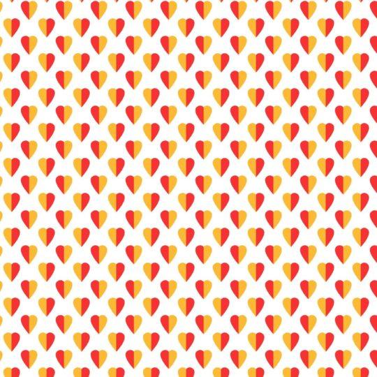 模様ハート赤橙白女子向けの Android スマホ 壁紙