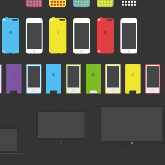 イラスト黒AppleデバイスiPhoneMaciPadの Android スマホ 壁紙
