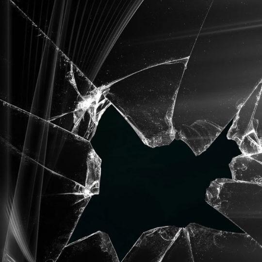 ガラスが割れたディスプレイ画面黒の Android スマホ 壁紙