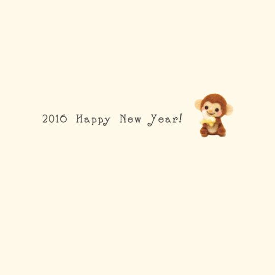 新年壁紙 happy news year 2016 猿 黄色の Android スマホ 壁紙