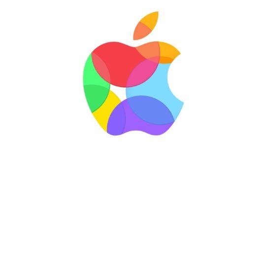 Appleロゴカラフル白の Android スマホ 壁紙