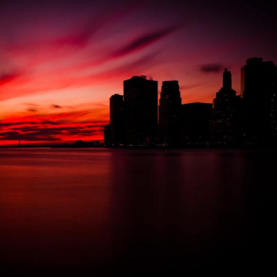 風景夕焼け街の Android スマホ 壁紙