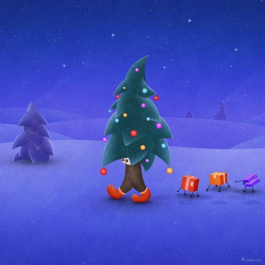 クリスマスクリスマスツリーの Android スマホ 壁紙