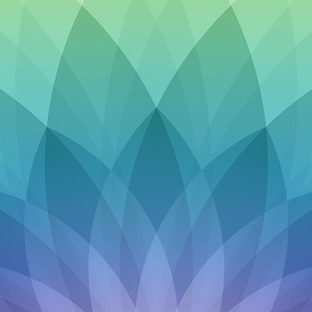 模様Apple春イベント緑青紫の Apple Watch 文字盤壁紙
