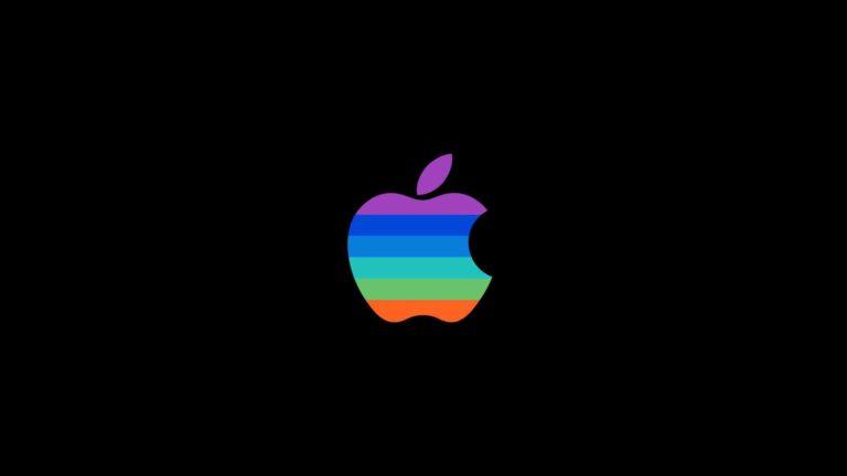 Appleロゴカラフル黒クールの Desktop PC / Mac 壁紙