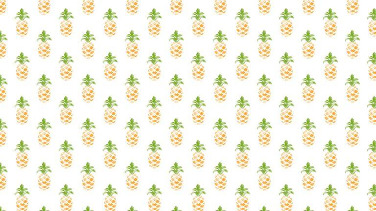 模様イラストフルーツパイナップル緑黄色女子向けの Desktop PC / Mac 壁紙
