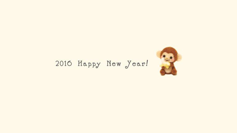 新年壁紙 happy news year 2016 猿 黄色の Desktop PC / Mac 壁紙