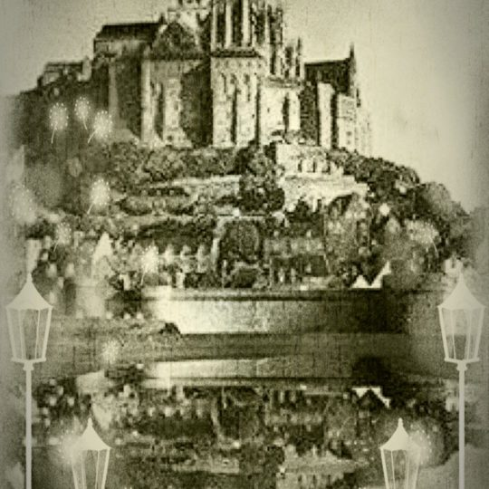 Mont Saint Michel Black and White Android SmartPhone Wallpaper