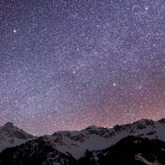 Snowy mountain landscape starry sky Android SmartPhone Wallpaper