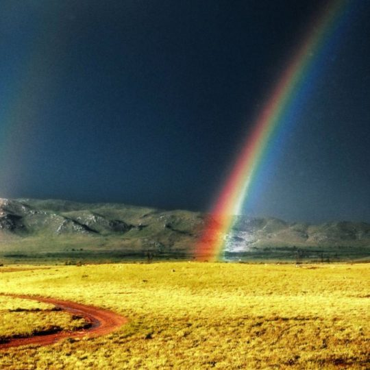 Grassland landscape rainbow Android SmartPhone Wallpaper