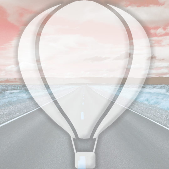 Landscape road balloon orange Android SmartPhone Wallpaper