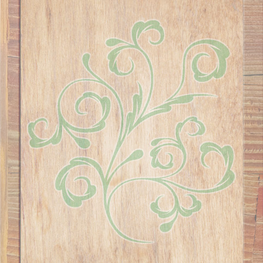 Wood grain leaves Brown green Android SmartPhone Wallpaper