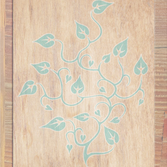 Wood grain leaves Brown blue Android SmartPhone Wallpaper