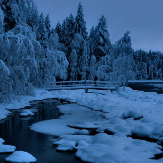 Landscape  snow  blue Android SmartPhone Wallpaper