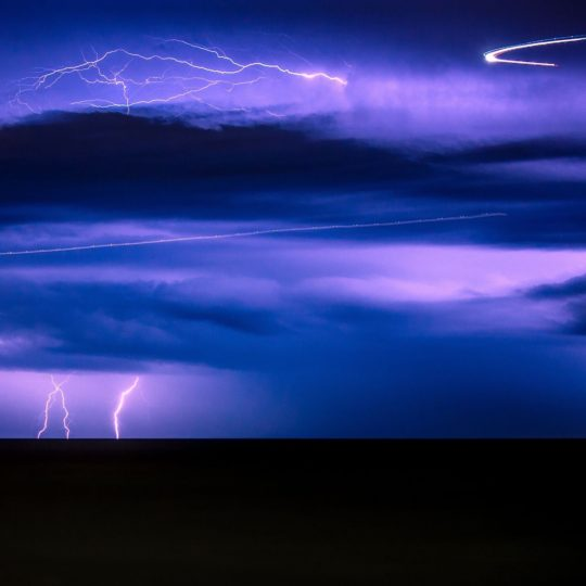 Landscape lightning purple Android SmartPhone Wallpaper