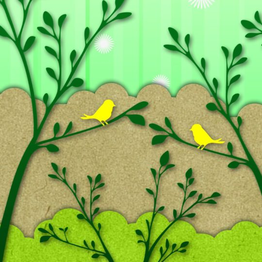Bird illustration green yellow Android SmartPhone Wallpaper