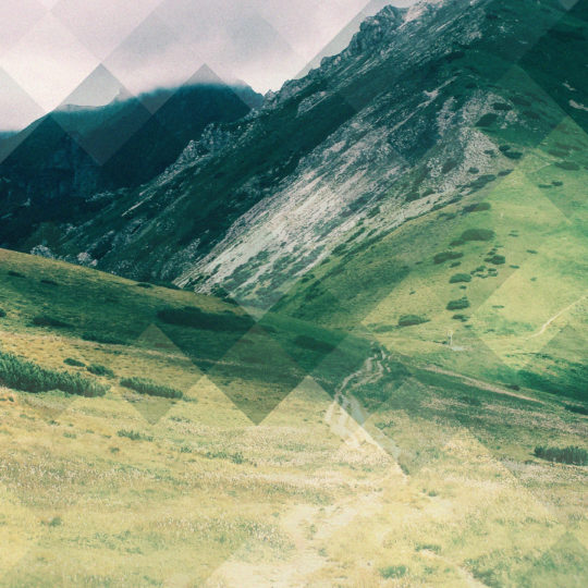 Landscape mountain grassland, green, and blue Android SmartPhone Wallpaper