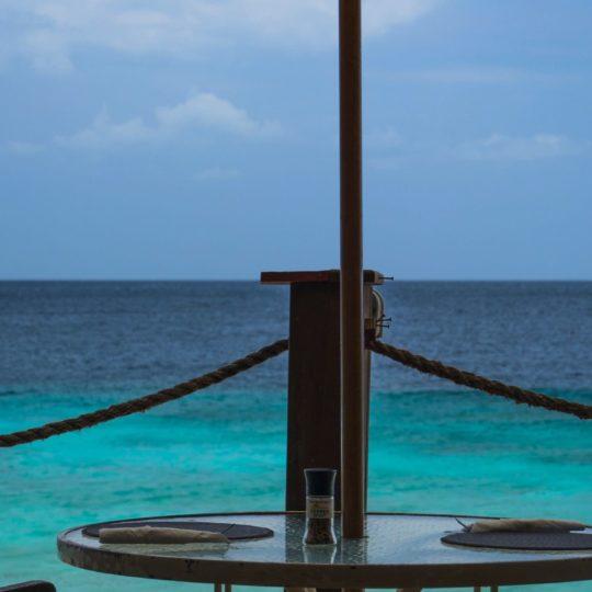 Landscape sea blue beach umbrellas Android SmartPhone Wallpaper