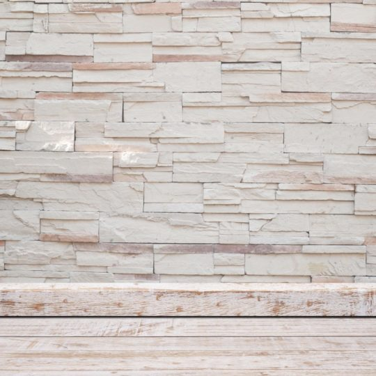 White stone wall floorboards Android SmartPhone Wallpaper