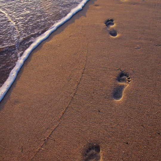 Landscape sand beach footprints Android SmartPhone Wallpaper
