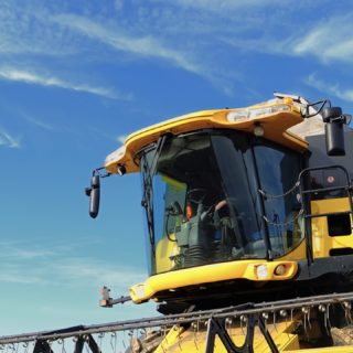 Agricultural tractor yellow