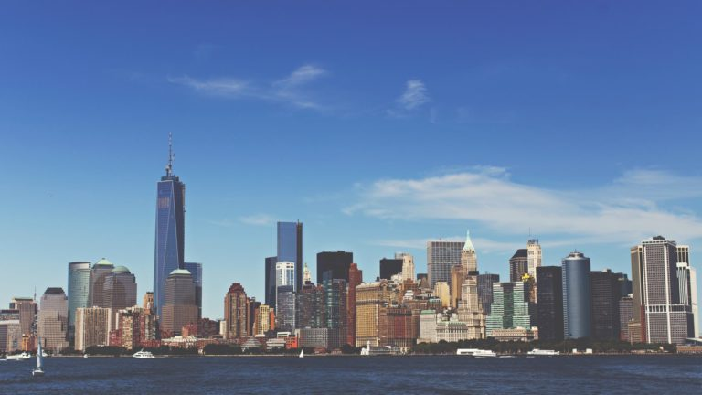 Landscape cityscape sea Manhattan Desktop PC / Mac Wallpaper