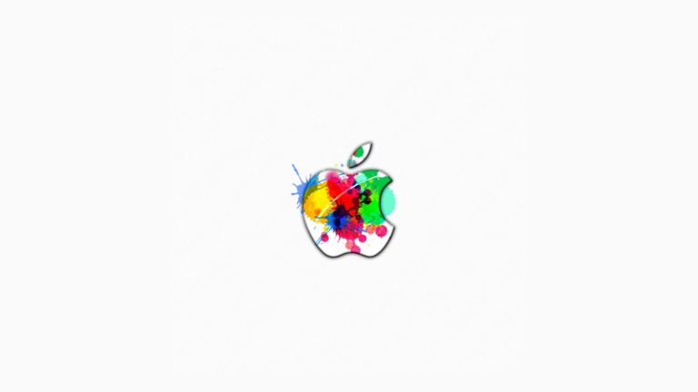 Apple logo colorful white Desktop PC / Mac Wallpaper