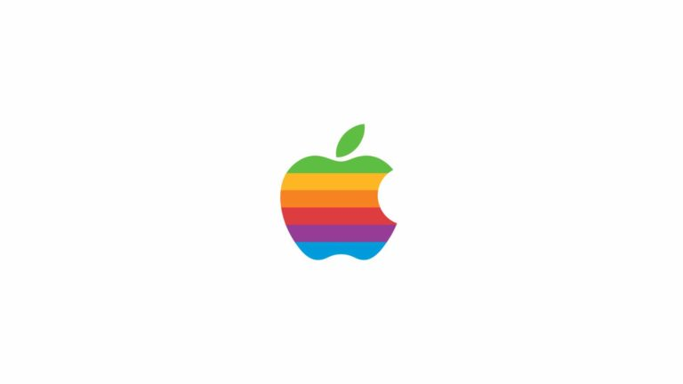 Apple logo rainbow white Desktop PC / Mac Wallpaper