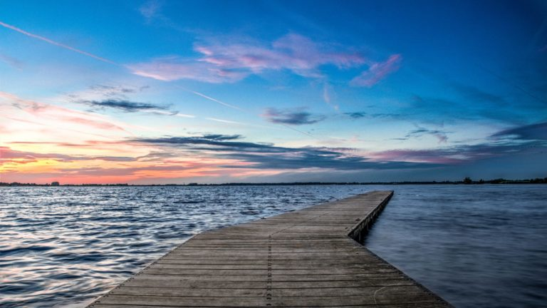 Landscape pier sea sunset Desktop PC / Mac Wallpaper