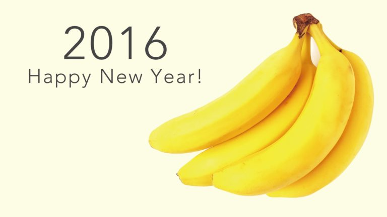 happy news year 2016 banana yellow wallpaper Desktop PC / Mac Wallpaper