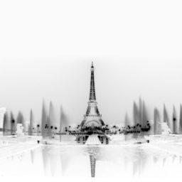 Monochrome landscape Eiffel Tower iPad / Air / mini / Pro Wallpaper