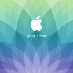 Apple logo spring events spring forward. Green blue purple iPad / Air / mini / Pro Wallpaper