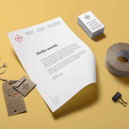 Stationery white yellow business card tape iPad / Air / mini / Pro Wallpaper