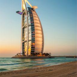 Landscape sea Hotel BURJ AL ARAB Dubai iPad / Air / mini / Pro Wallpaper