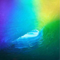 Landscape iOS9 colorful wave iPad / Air / mini / Pro Wallpaper