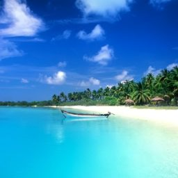 Landscape sea blue ship iPad / Air / mini / Pro Wallpaper