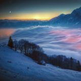 Snowy mountain landscape night