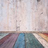 White wall floorboards colorful