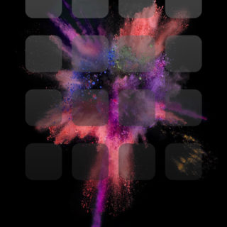 iOS9 black explosion colorful cool shelf iPhone4s Wallpaper