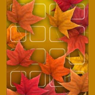 Shelf red autumn leaves yellow flowers iPhone5s / iPhone5c / iPhone5 Wallpaper