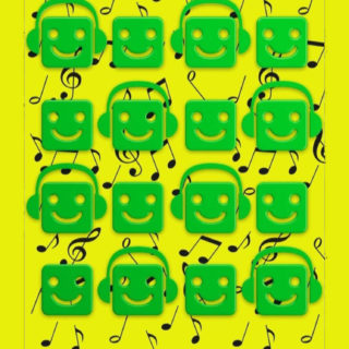 Shelf Chara music note yellow green iPhone5s / iPhone5c / iPhone5 Wallpaper