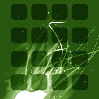Apple logo shelf cool green iPhone5s / iPhone5c / iPhone5 Wallpaper
