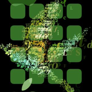 Apple logo shelf cool green iPhone5s / iPhone5c / iPhone5 Wallpaper